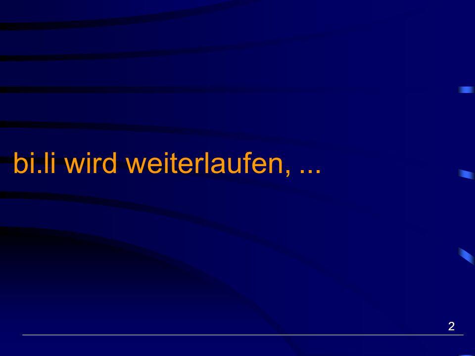 13 Pilotprojekt «bi.li - Zweisprachiges Lernen an Berufsschulen» Mittelschul- und Berufsbildungsamt / Bildungsentwicklung Unterstützt vom Lehrstellenbeschluss 2 von Bund und Kt.