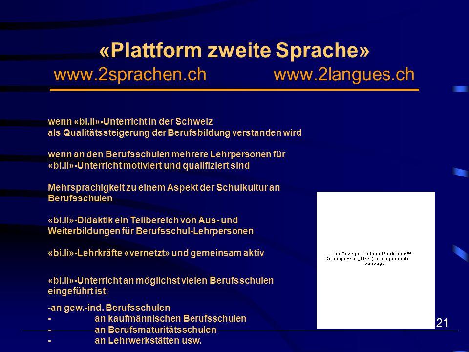 21 «Plattform zweite Sprache» www.2sprachen.ch www.2langues.ch wenn «bi.li»-Unterricht in der Schweiz als Qualitätssteigerung der Berufsbildung verstanden wird wenn an den Berufsschulen mehrere Lehrpersonen für «bi.li»-Unterricht motiviert und qualifiziert sind Mehrsprachigkeit zu einem Aspekt der Schulkultur an Berufsschulen «bi.li»-Didaktik ein Teilbereich von Aus- und Weiterbildungen für Berufsschul-Lehrpersonen «bi.li»-Lehrkräfte «vernetzt» und gemeinsam aktiv «bi.li»-Unterricht an möglichst vielen Berufsschulen eingeführt ist: - an gew.-ind.
