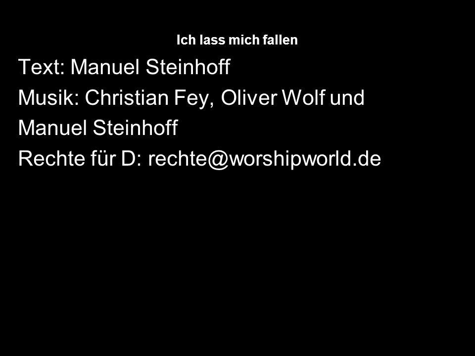 Ich lass mich fallen Text: Manuel Steinhoff Musik: Christian Fey, Oliver Wolf und Manuel Steinhoff Rechte für D: rechte@worshipworld.de
