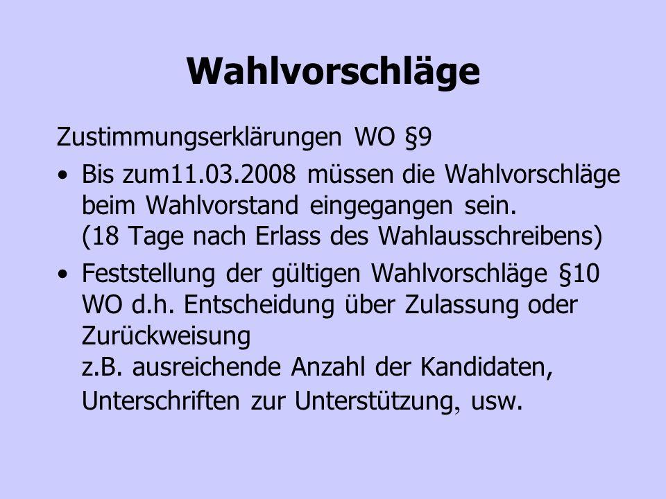Aushang der Wahlvorschläge § 13 WO spätestens 21.04.2008 (2 Wochen vor der Wahl ) Wahllokal (Termin, Ort) klären Briefwahlverfahren §16a WO – Hinweise des GWV beachten