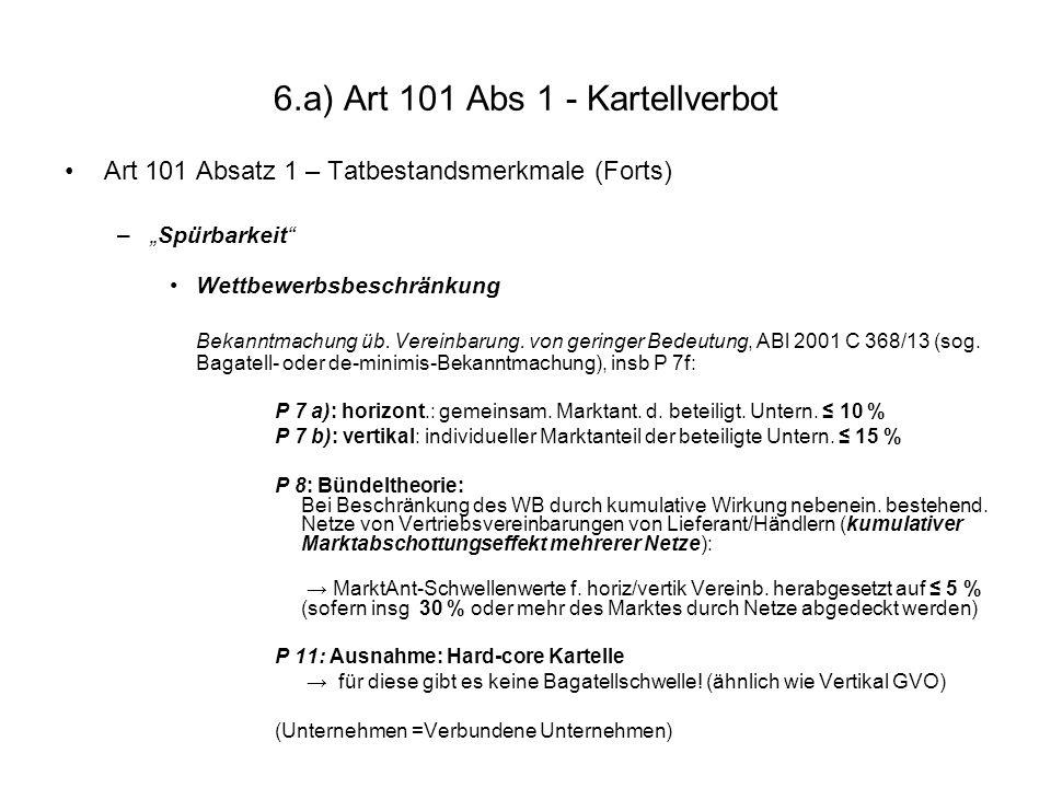 6.a) Art 101 Abs 1 - Kartellverbot Art 101 Absatz 1 – Tatbestandsmerkmale (Forts) –Spürbarkeit Wettbewerbsbeschränkung Bekanntmachung üb. Vereinbarung