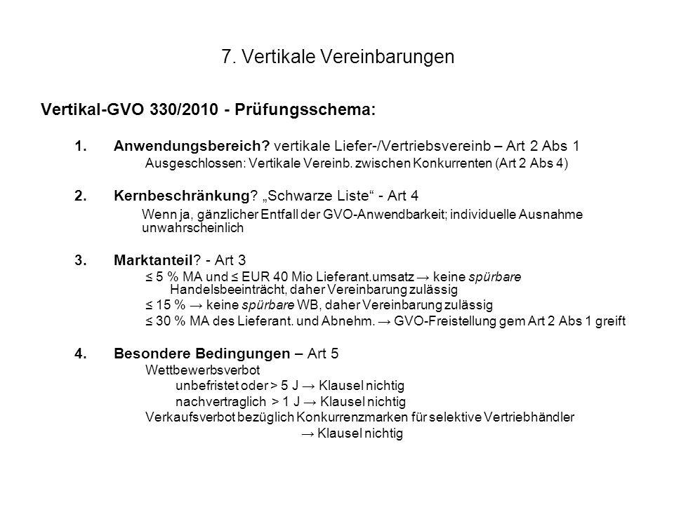 7. Vertikale Vereinbarungen Vertikal-GVO 330/2010 - Prüfungsschema: 1.Anwendungsbereich? vertikale Liefer-/Vertriebsvereinb – Art 2 Abs 1 Ausgeschloss