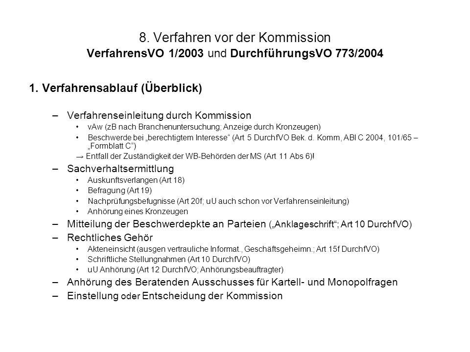 8. Verfahren vor der Kommission VerfahrensVO 1/2003 und DurchführungsVO 773/2004 1. Verfahrensablauf (Überblick) –Verfahrenseinleitung durch Kommissio