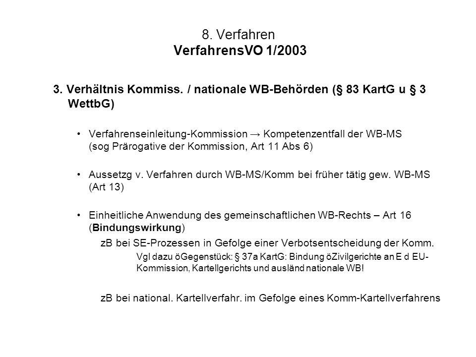8. Verfahren VerfahrensVO 1/2003 3. Verhältnis Kommiss. / nationale WB-Behörden (§ 83 KartG u § 3 WettbG) Verfahrenseinleitung-Kommission Kompetenzent