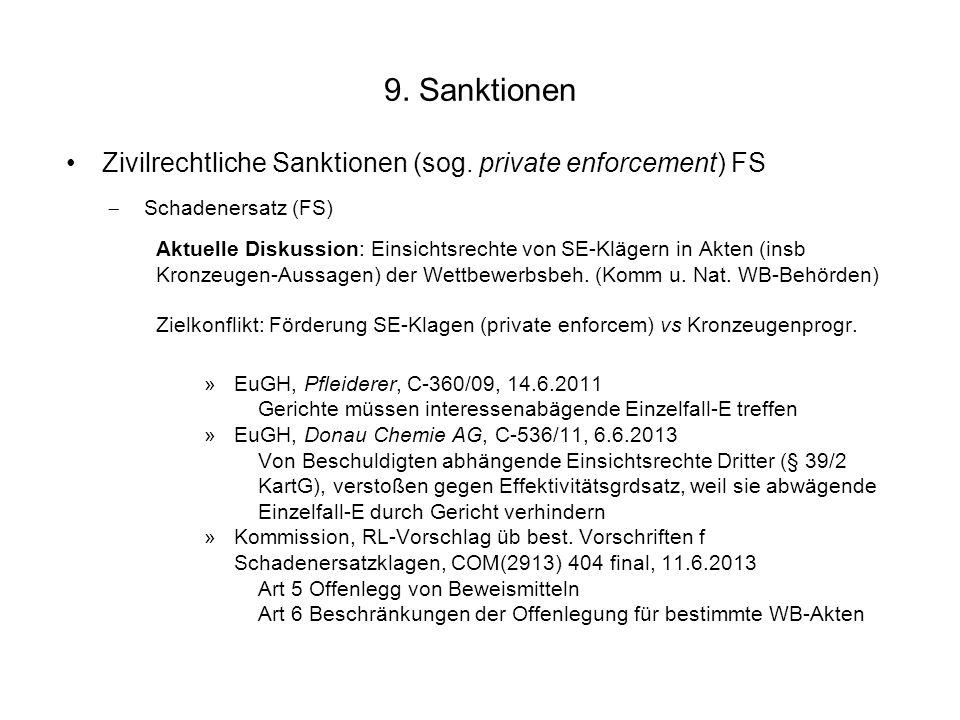 9. Sanktionen Zivilrechtliche Sanktionen (sog. private enforcement) FS Schadenersatz (FS) Aktuelle Diskussion: Einsichtsrechte von SE-Klägern in Akten