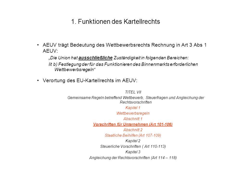 1. Funktionen des Kartellrechts AEUV trägt Bedeutung des Wettbewerbsrechts Rechnung in Art 3 Abs 1 AEUV: Die Union hat ausschließliche Zuständigkeit i