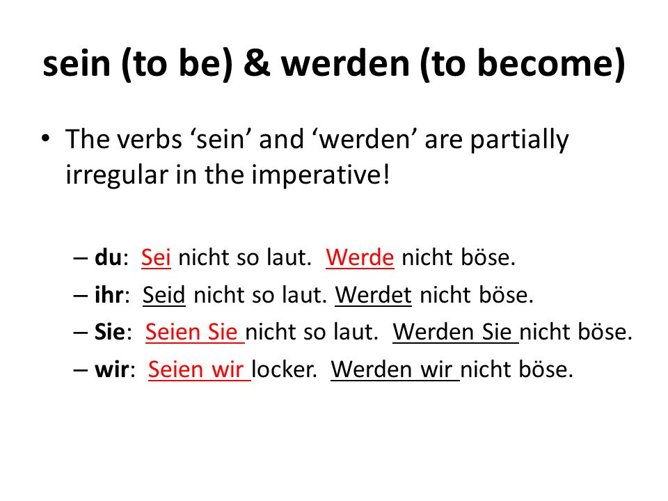 sein (to be) & werden (to become) The verbs sein and werden are partially irregular in the imperative.