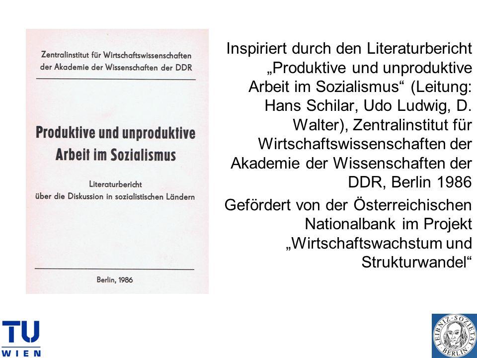 Inspiriert durch den Literaturbericht Produktive und unproduktive Arbeit im Sozialismus (Leitung: Hans Schilar, Udo Ludwig, D. Walter), Zentralinstitu