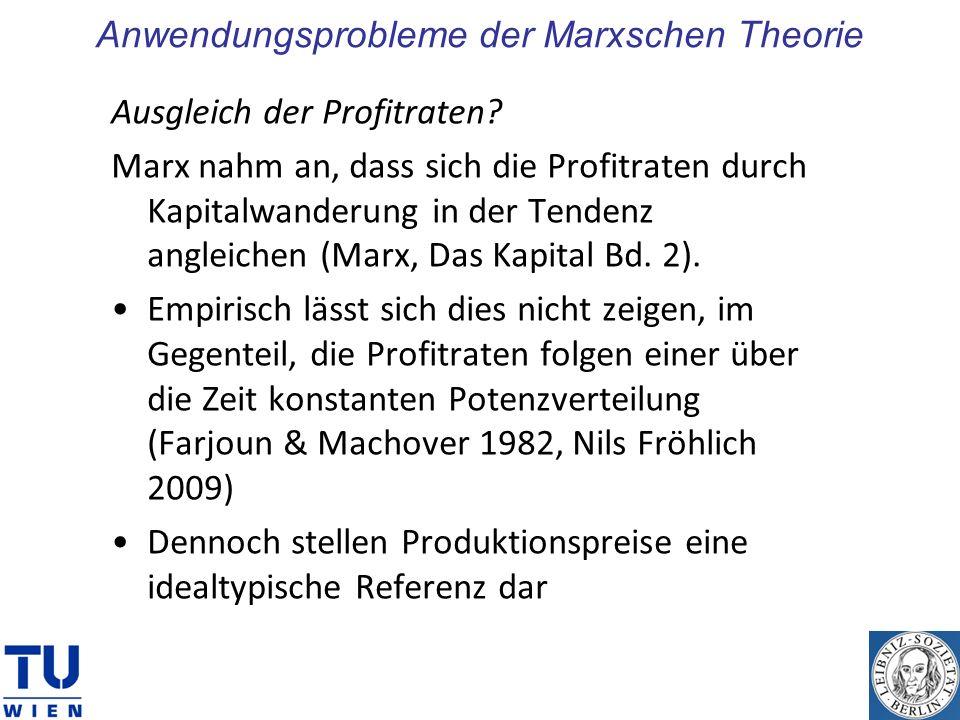Anwendungsprobleme der Marxschen Theorie Ausgleich der Profitraten? Marx nahm an, dass sich die Profitraten durch Kapitalwanderung in der Tendenz angl