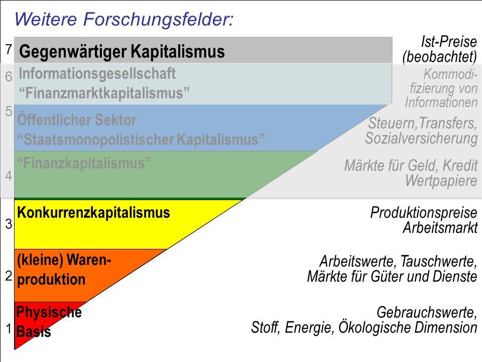 Weitere Forschungsfelder: Gebrauchswerte, Stoff, Energie, Ökologische Dimension Arbeitswerte, Tauschwerte, Märkte für Güter und Dienste Produktionspre