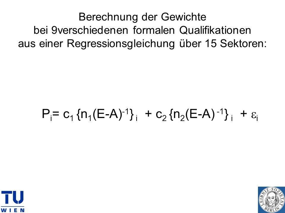 Berechnung der Gewichte bei 9verschiedenen formalen Qualifikationen aus einer Regressionsgleichung über 15 Sektoren: P i = c 1 {n 1 (E-A) -1 } i + c 2
