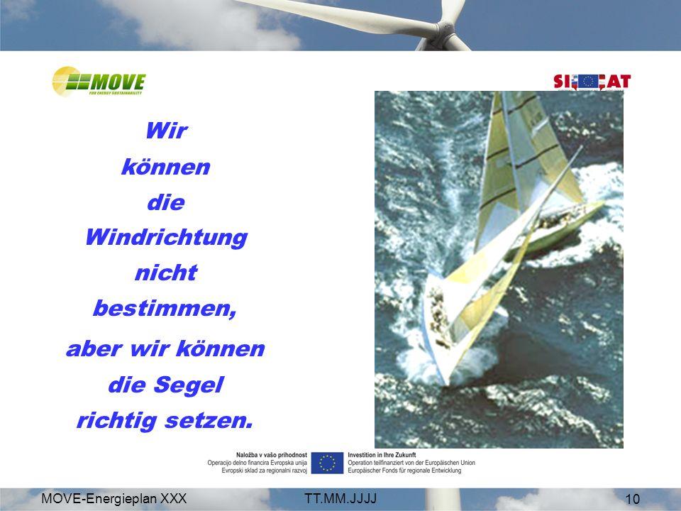 MOVE-Energieplan XXXTT.MM.JJJJ 10 Wir können die Windrichtung nicht bestimmen, aber wir können die Segel richtig setzen.