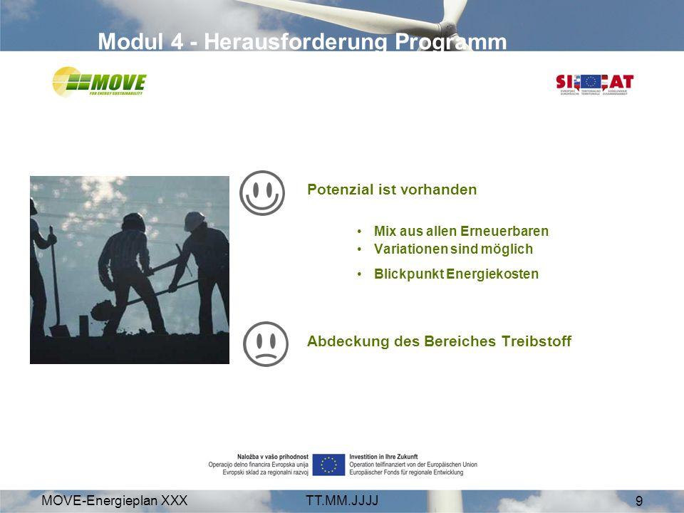 MOVE-Energieplan XXXTT.MM.JJJJ 9 Modul 4 - Herausforderung Programm Potenzial ist vorhanden Mix aus allen Erneuerbaren Variationen sind möglich Blickp