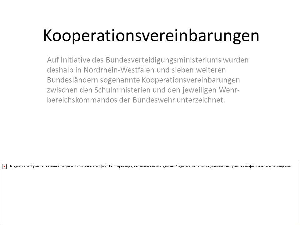 Kooperationsvereinbarungen Auf Initiative des Bundesverteidigungsministeriums wurden deshalb in Nordrhein-Westfalen und sieben weiteren Bundesländern sogenannte Kooperationsvereinbarungen zwischen den Schulministerien und den jeweiligen Wehr- bereichskommandos der Bundeswehr unterzeichnet.