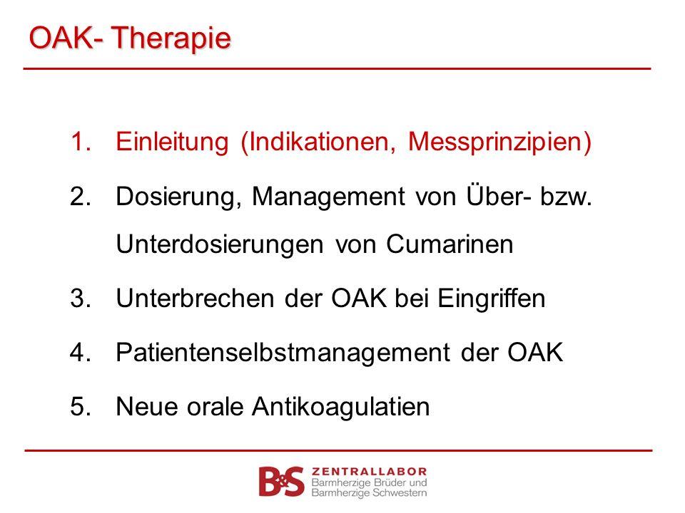 OAK- Therapie 1.Einleitung (Indikationen, Messprinzipien) 2.Dosierung, Management von Über- bzw. Unterdosierungen von Cumarinen 3.Unterbrechen der OAK