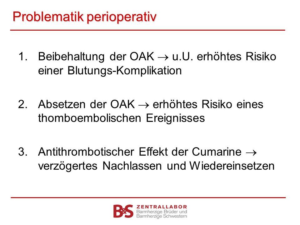Problematik perioperativ 1.Beibehaltung der OAK u.U. erhöhtes Risiko einer Blutungs-Komplikation 2.Absetzen der OAK erhöhtes Risiko eines thomboemboli