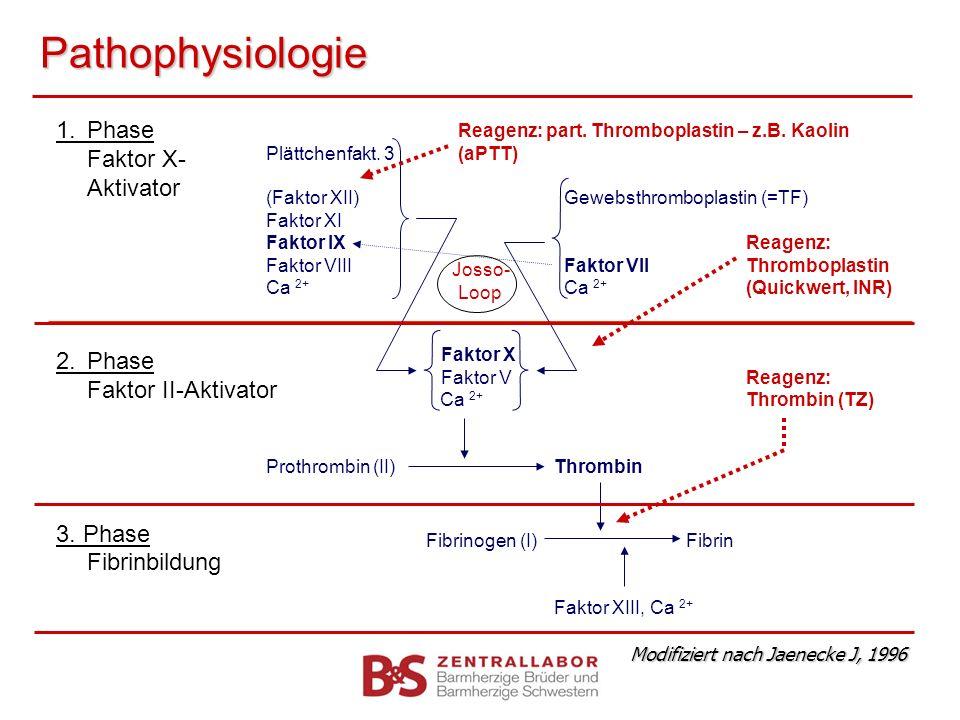Pathophysiologie Reagenz: part. Thromboplastin – z.B. Kaolin Plättchenfakt. 3(aPTT) (Faktor XII) Gewebsthromboplastin (=TF) Faktor XI Faktor IXReagenz