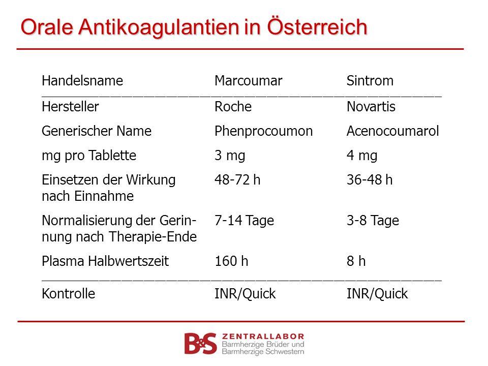 Orale Antikoagulantien in Österreich HandelsnameMarcoumarSintrom _____________________________________________________________________________________