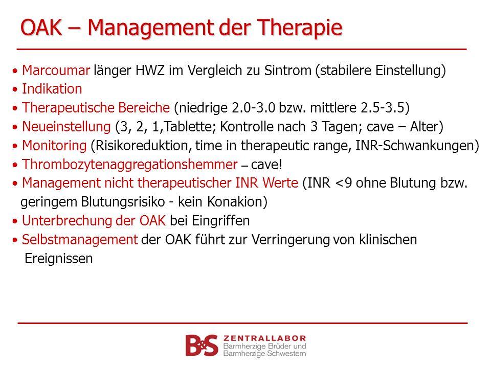 OAK – Management der Therapie Marcoumar länger HWZ im Vergleich zu Sintrom (stabilere Einstellung) Indikation Therapeutische Bereiche (niedrige 2.0-3.