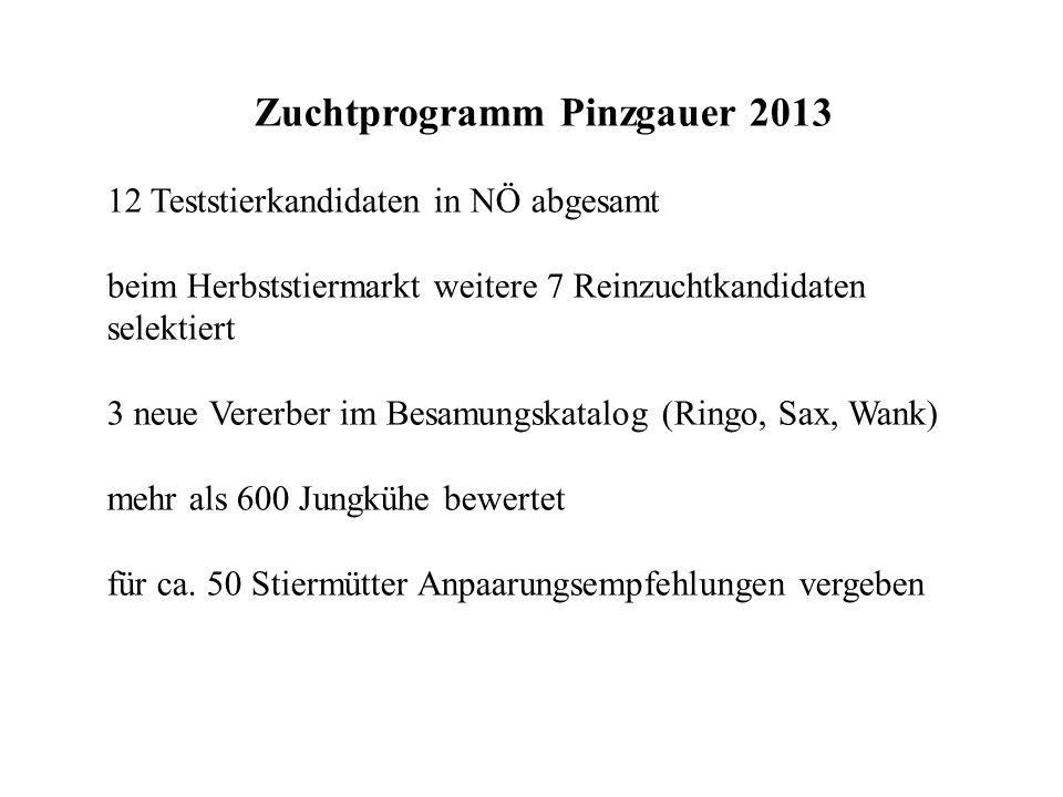 Zuchtprogramm Pinzgauer 2013 12 Teststierkandidaten in NÖ abgesamt beim Herbststiermarkt weitere 7 Reinzuchtkandidaten selektiert 3 neue Vererber im Besamungskatalog (Ringo, Sax, Wank) mehr als 600 Jungkühe bewertet für ca.