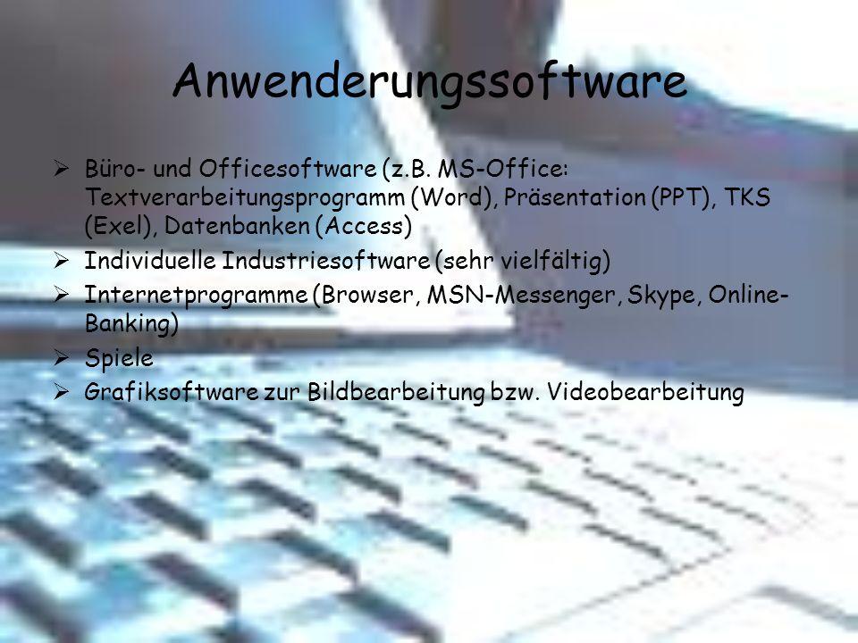 Anwenderungssoftware Büro- und Officesoftware (z.B. MS-Office: Textverarbeitungsprogramm (Word), Präsentation (PPT), TKS (Exel), Datenbanken (Access)
