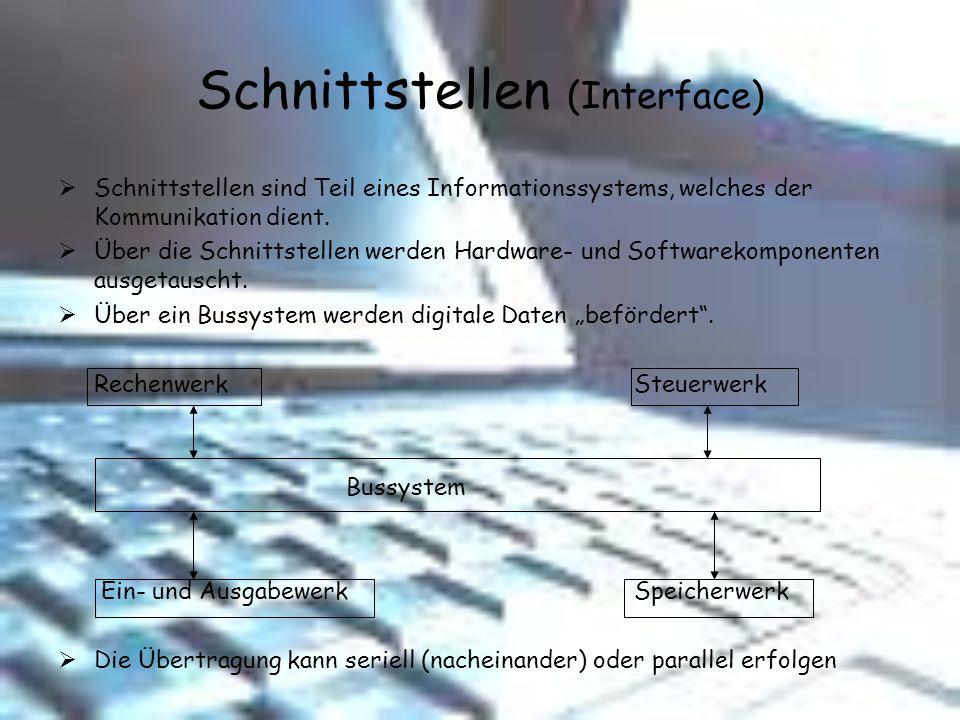 Schnittstellen (Interface) Schnittstellen sind Teil eines Informationssystems, welches der Kommunikation dient. Über die Schnittstellen werden Hardwar