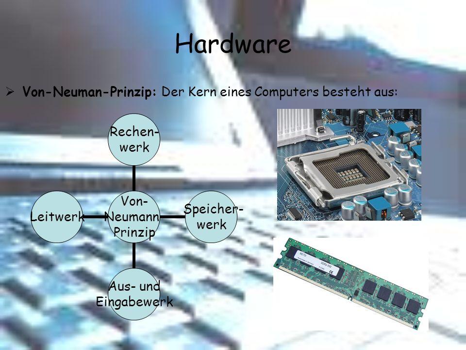 Hardware Von- Neumann- Prinzip Rechen- werk Speicher- werk Aus- und Eingabewerk Leitwerk Von-Neuman-Prinzip: Der Kern eines Computers besteht aus: