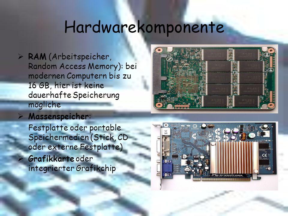 Hardwarekomponente RAM (Arbeitspeicher, Random Access Memory): bei modernen Computern bis zu 16 GB, hier ist keine dauerhafte Speicherung mögliche Mas