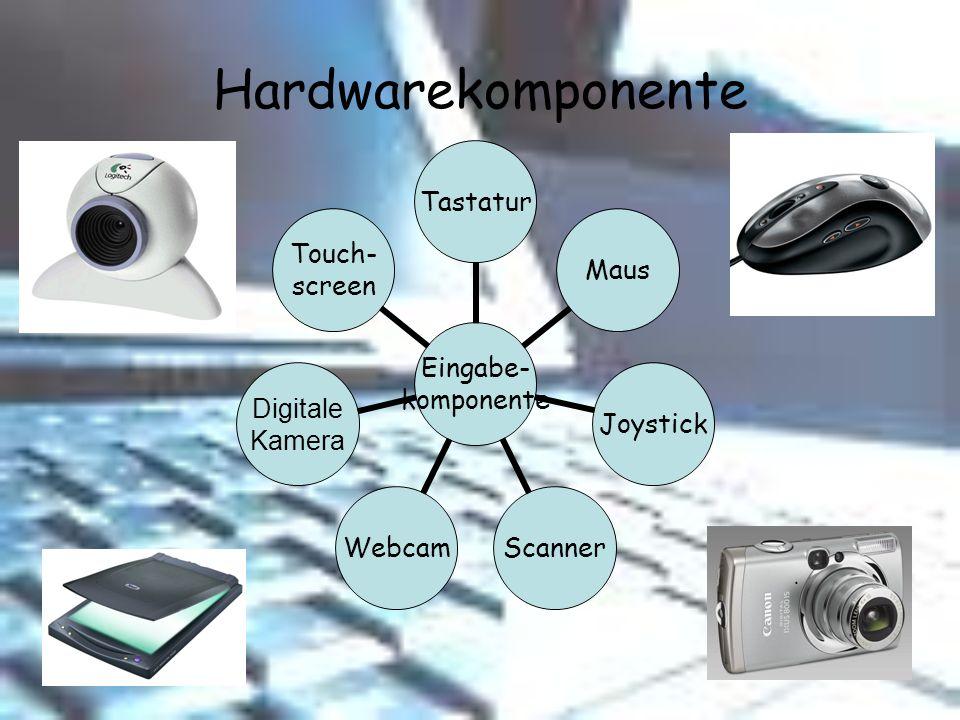 Hardwarekomponente Eingabe- komponente TastaturMausJoystickScannerWebcam Digitale Kamera Touch- screen