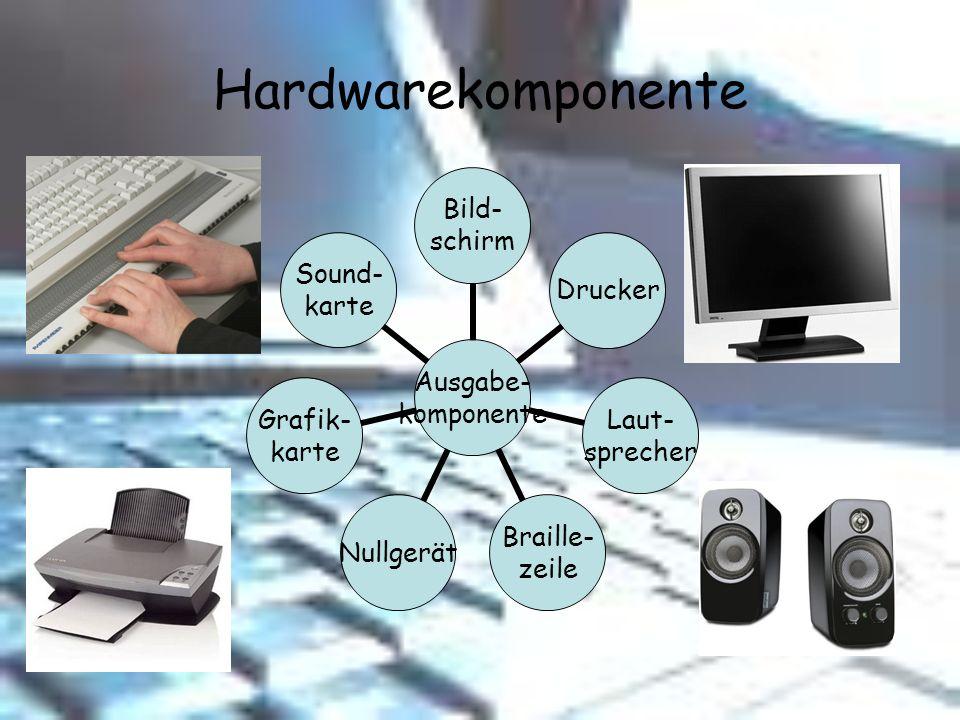 Hardwarekomponente Ausgabe- komponente Bild- schirm Drucker Laut- sprecher Braille- zeile Nullgerät Grafik- karte Sound- karte