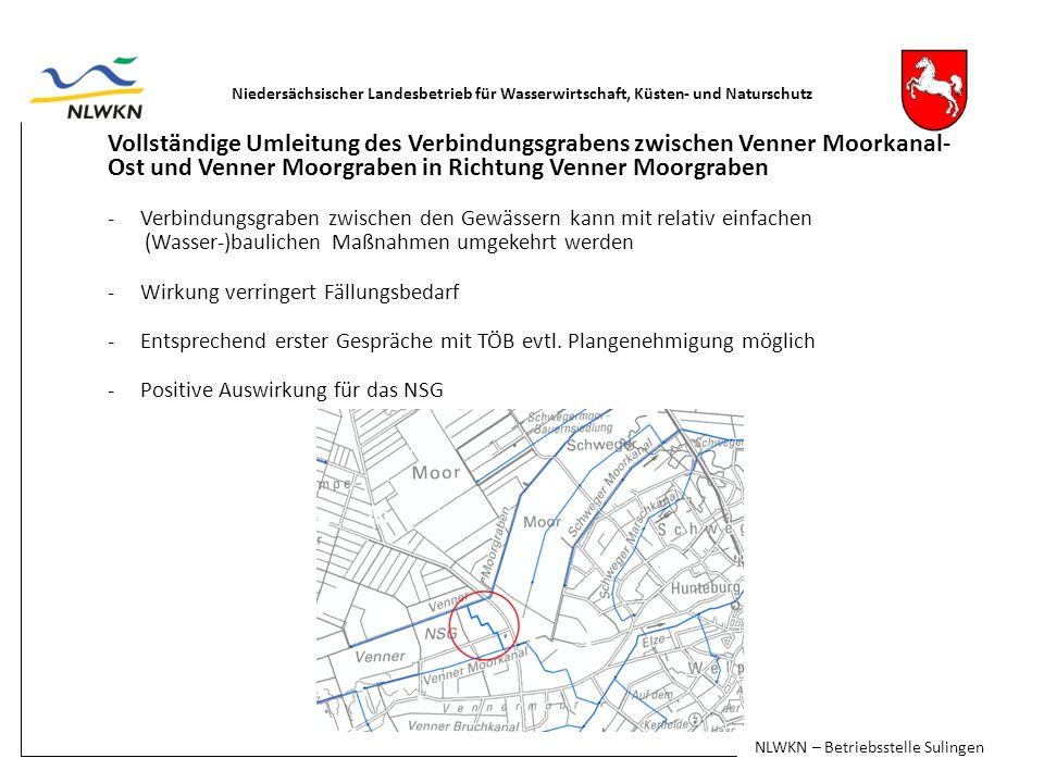 Vollständige Umleitung des Verbindungsgrabens zwischen Venner Moorkanal- Ost und Venner Moorgraben in Richtung Venner Moorgraben -Verbindungsgraben zwischen den Gewässern kann mit relativ einfachen (Wasser-)baulichen Maßnahmen umgekehrt werden -Wirkung verringert Fällungsbedarf -Entsprechend erster Gespräche mit TÖB evtl.