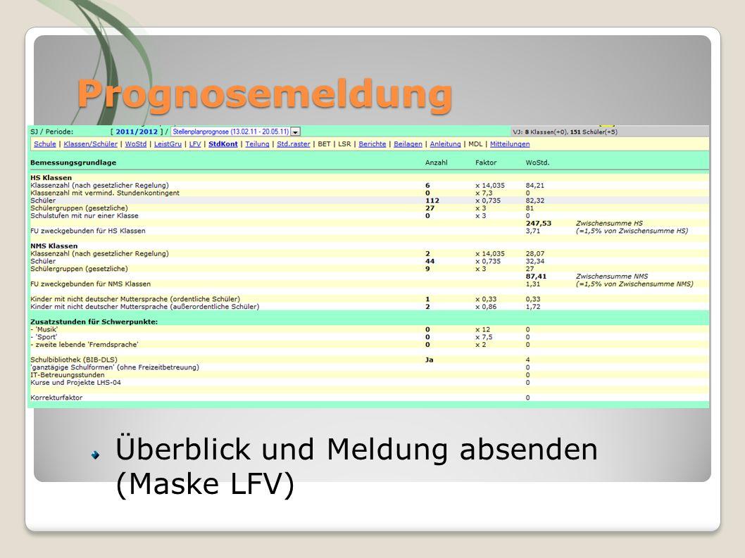 Prognosemeldung Filtern, Merken Überblick und Meldung absenden (Maske LFV)