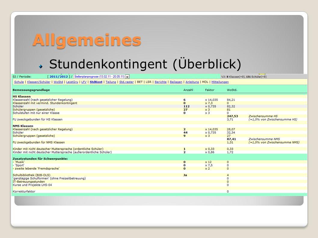 Allgemeines Stundenkontingent (Überblick) Änderungen außerhalb der Öffnungszeiten SDB per Mail Änderung LFV unverzüglich nur bei gen. LFV sonst kein M