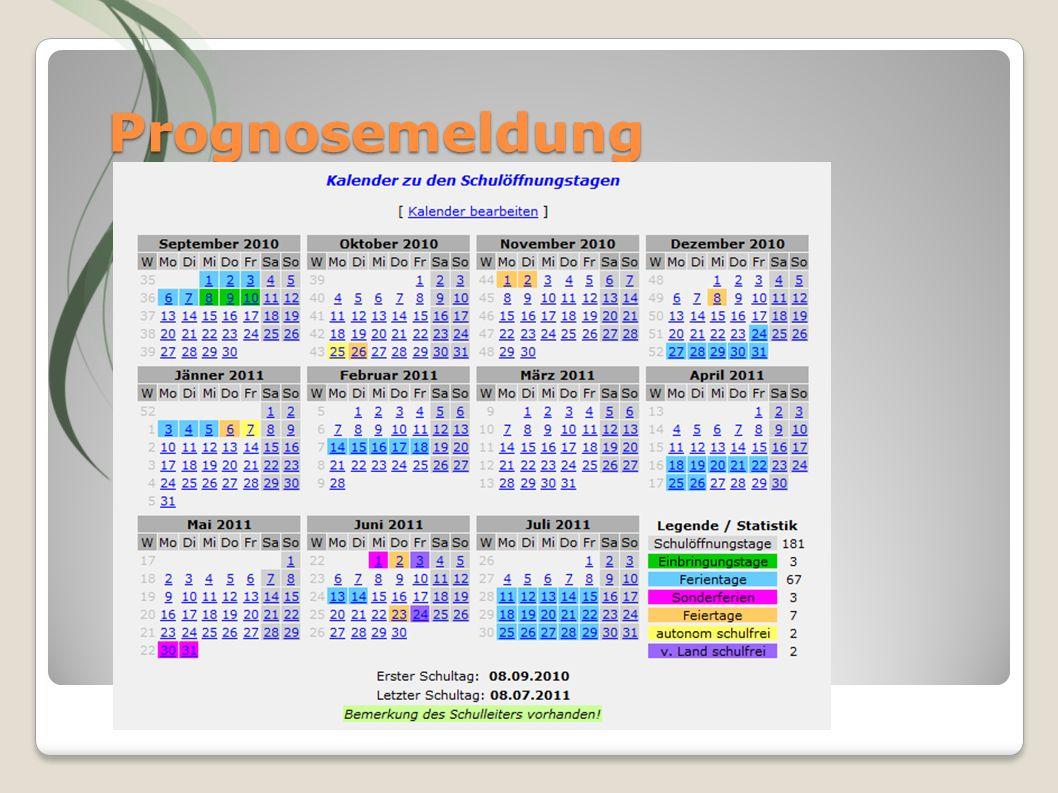 Prognosemeldung Nach Anleitung im RS vorgehen Kalender bearbeiten Sonderferien Einbringungstage