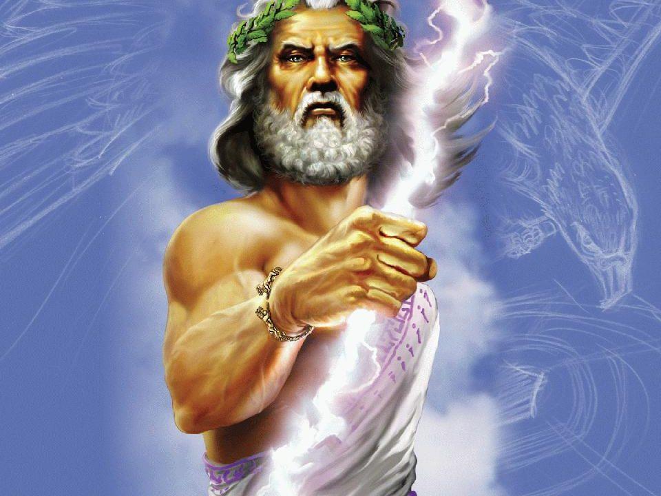 Zuerst galt Zeus nur als mächtiger Wettergott, der Blitze schleuderte und Donnerschläge schmettern ließ.