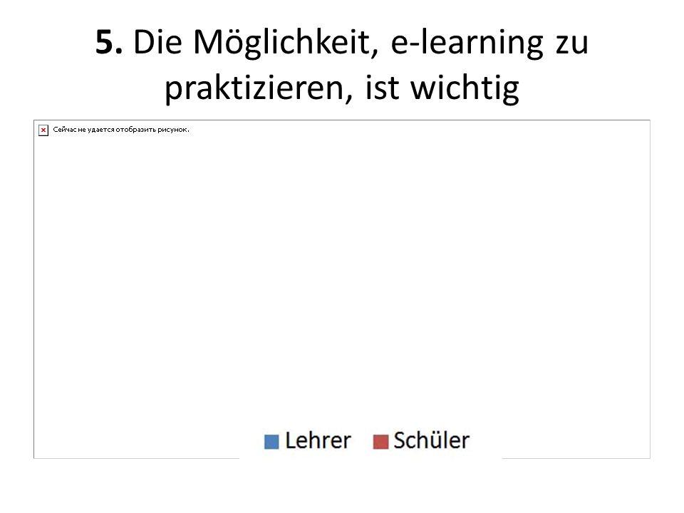 5. Die Möglichkeit, e-learning zu praktizieren, ist wichtig