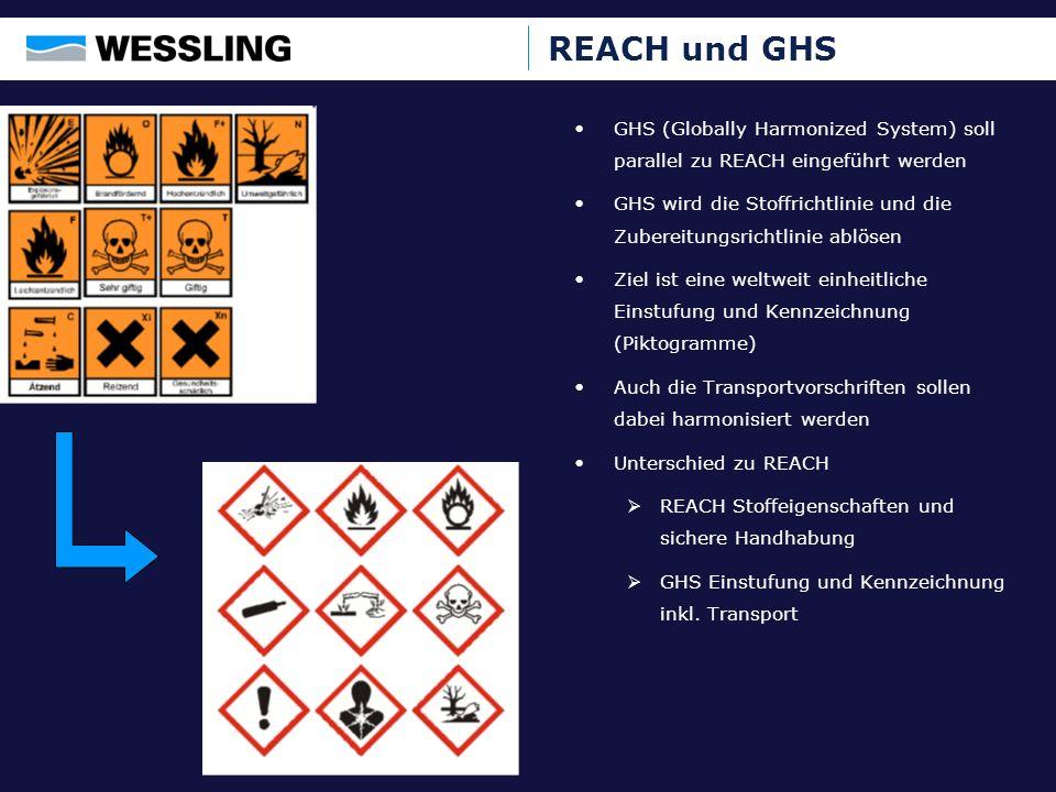 REACH und GHS GHS (Globally Harmonized System) soll parallel zu REACH eingeführt werden GHS wird die Stoffrichtlinie und die Zubereitungsrichtlinie ab