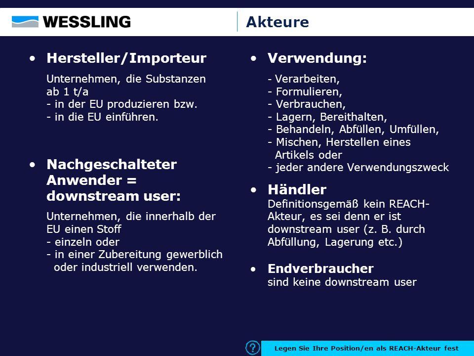 Akteure Hersteller/Importeur Unternehmen, die Substanzen ab 1 t/a - in der EU produzieren bzw. - in die EU einführen. Nachgeschalteter Anwender = down