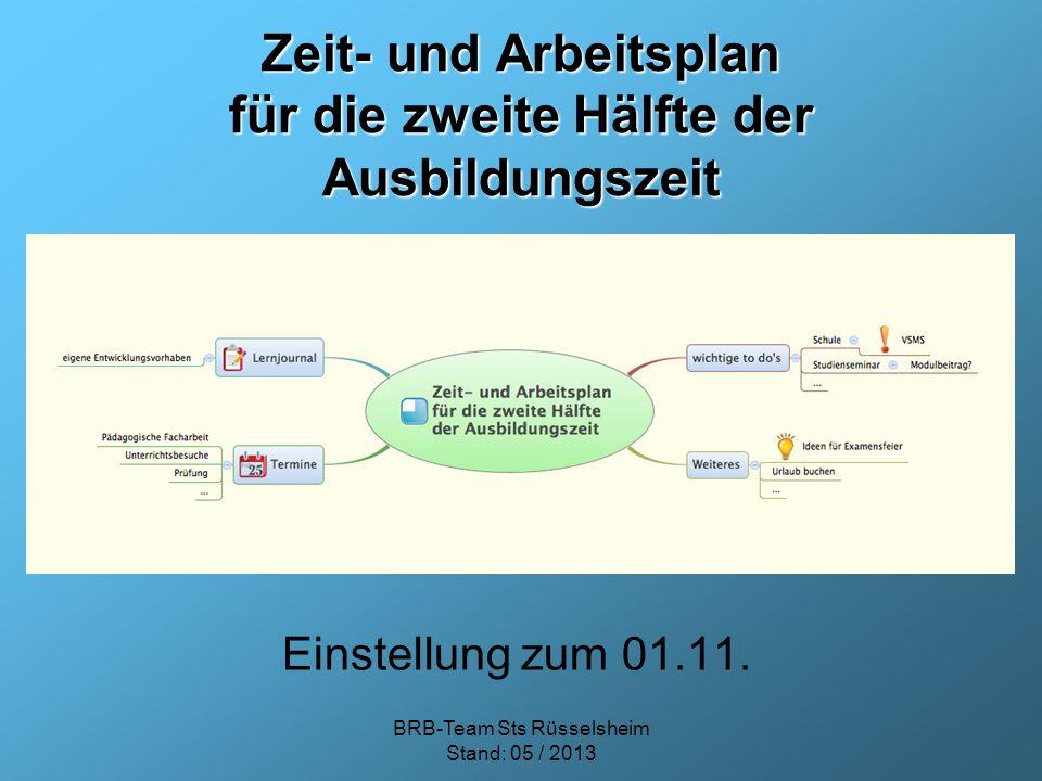 Zeit- und Arbeitsplan für die zweite Hälfte der Ausbildungszeit Einstellung zum 01.11. BRB-Team Sts Rüsselsheim Stand: 05 / 2013