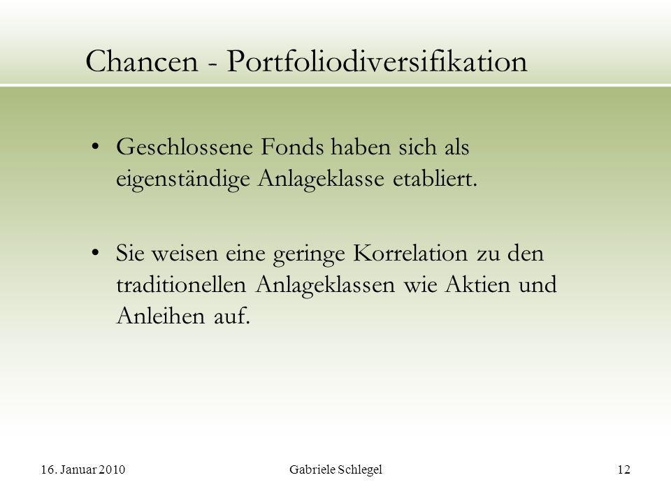 16. Januar 2010Gabriele Schlegel12 Chancen - Portfoliodiversifikation Geschlossene Fonds haben sich als eigenständige Anlageklasse etabliert. Sie weis