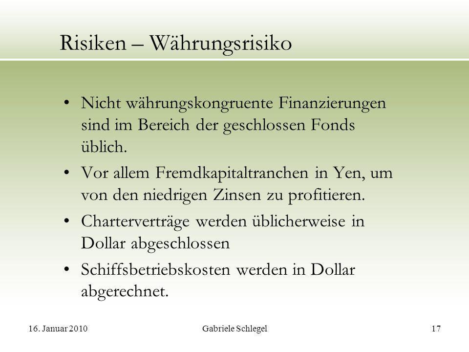 16. Januar 2010Gabriele Schlegel17 Risiken – Währungsrisiko Nicht währungskongruente Finanzierungen sind im Bereich der geschlossen Fonds üblich. Vor