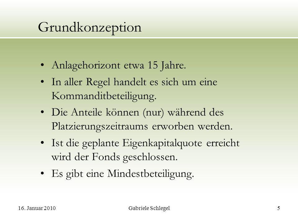 16.Januar 2010Gabriele Schlegel5 Grundkonzeption Anlagehorizont etwa 15 Jahre.