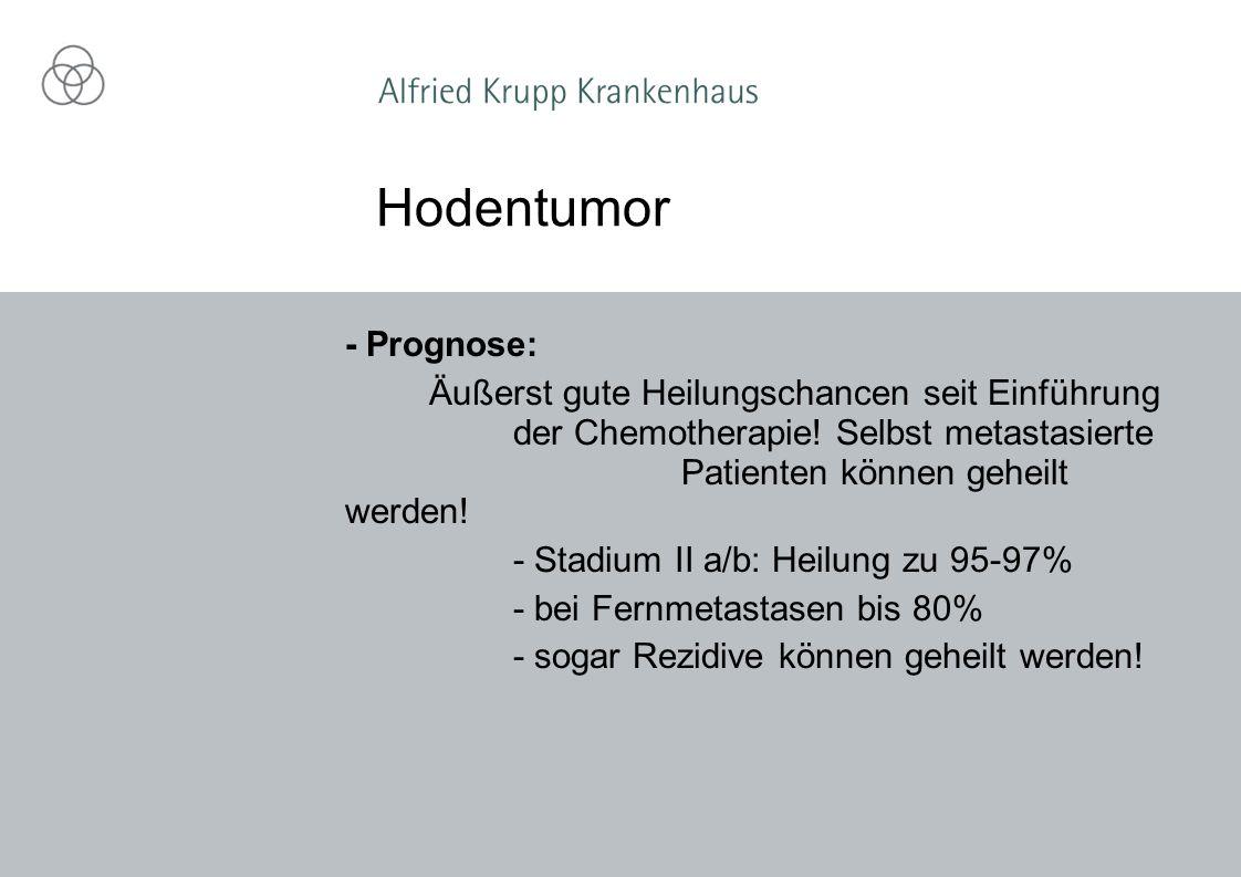 Hodentumor - Prognose: Äußerst gute Heilungschancen seit Einführung der Chemotherapie! Selbst metastasierte Patienten können geheilt werden! - Stadium