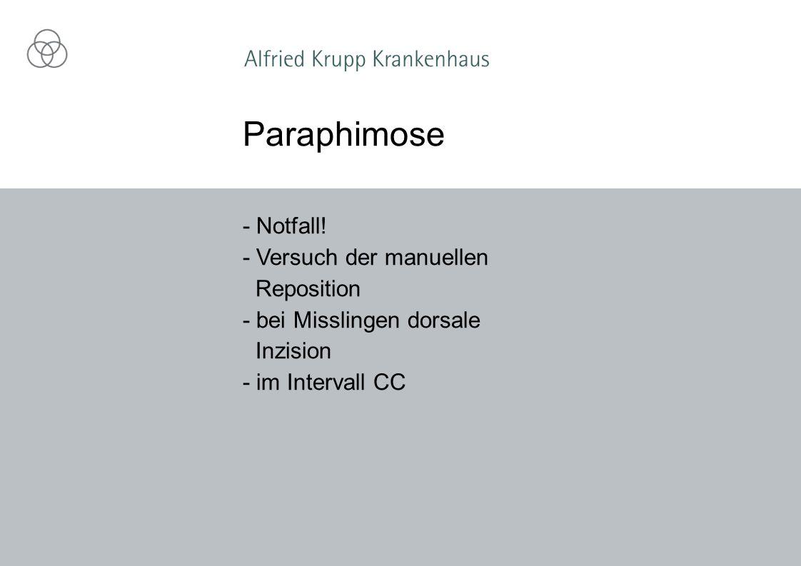 - Notfall! - Versuch der manuellen Reposition - bei Misslingen dorsale Inzision - im Intervall CC Paraphimose