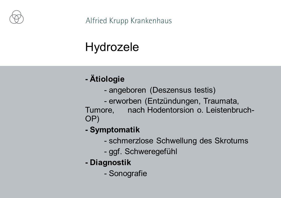 - Ätiologie - angeboren (Deszensus testis) - erworben (Entzündungen, Traumata, Tumore, nach Hodentorsion o. Leistenbruch- OP) - Symptomatik - schmerzl