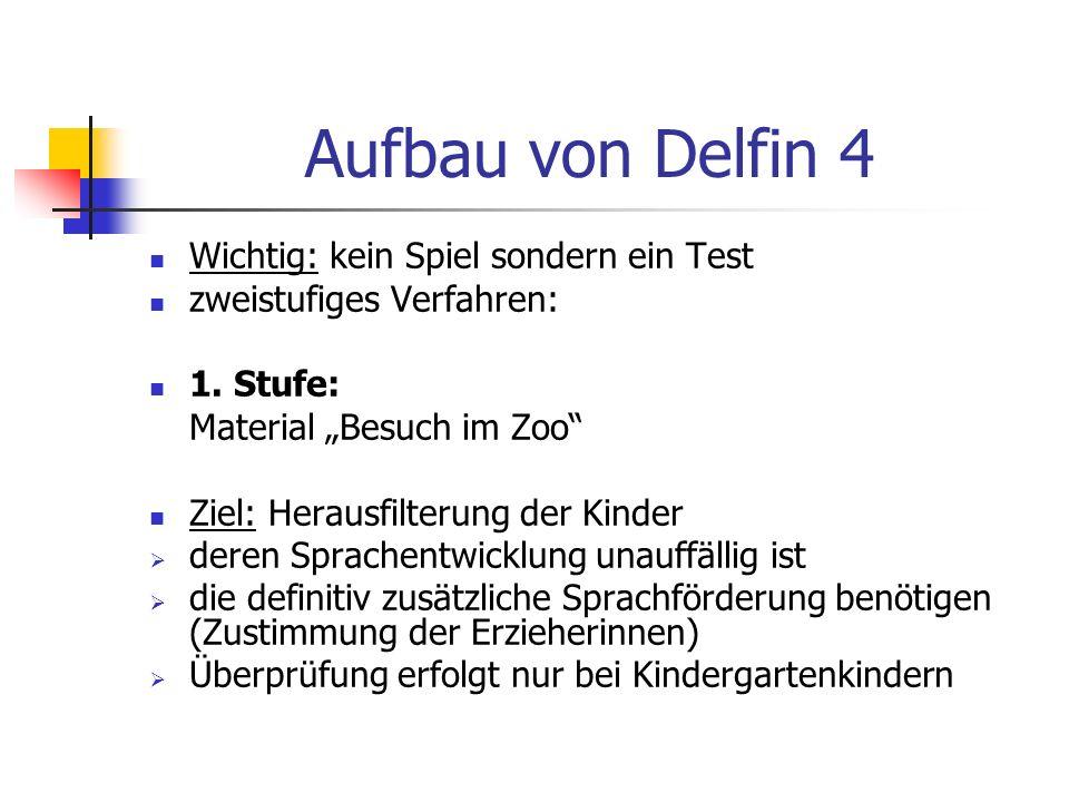 Aufbau von Delfin 4 Wichtig: kein Spiel sondern ein Test zweistufiges Verfahren: 1. Stufe: Material Besuch im Zoo Ziel: Herausfilterung der Kinder der