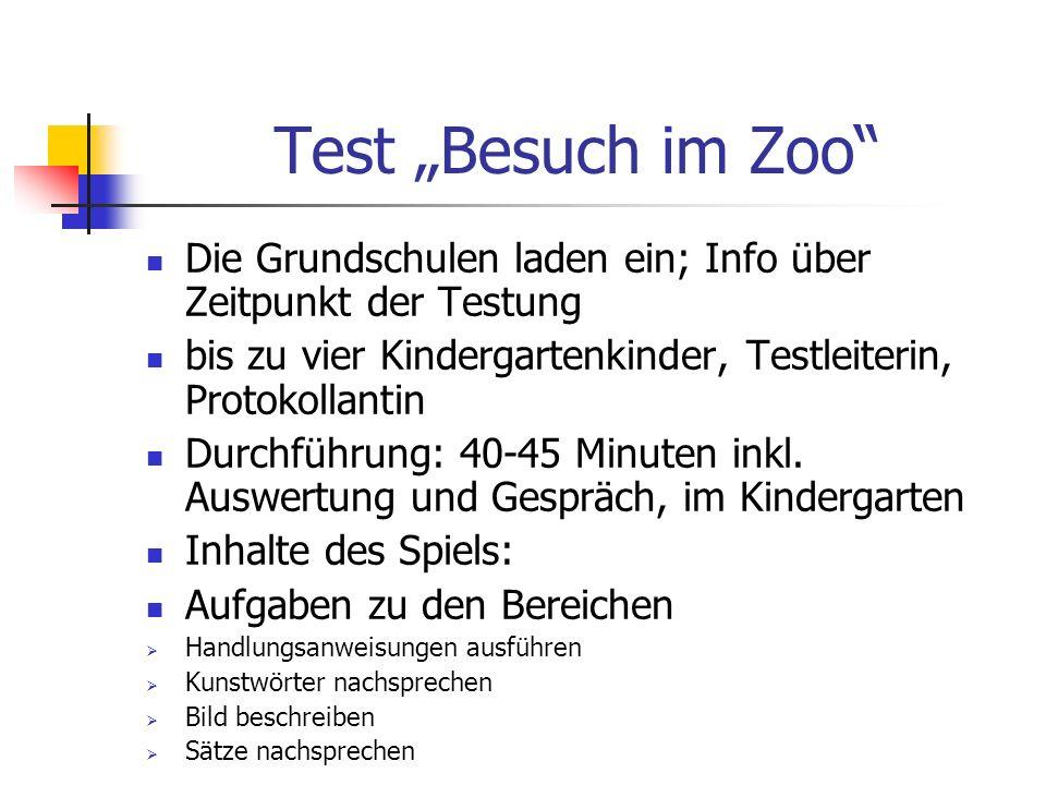 Test Besuch im Zoo Die Grundschulen laden ein; Info über Zeitpunkt der Testung bis zu vier Kindergartenkinder, Testleiterin, Protokollantin Durchführu