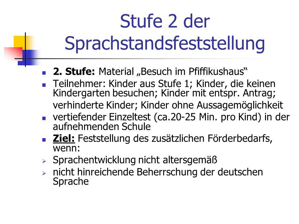 Stufe 2 der Sprachstandsfeststellung 2. Stufe: Material Besuch im Pfiffikushaus Teilnehmer: Kinder aus Stufe 1; Kinder, die keinen Kindergarten besuch