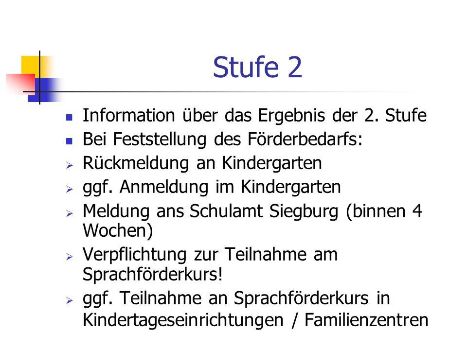 Stufe 2 Information über das Ergebnis der 2. Stufe Bei Feststellung des Förderbedarfs: Rückmeldung an Kindergarten ggf. Anmeldung im Kindergarten Meld