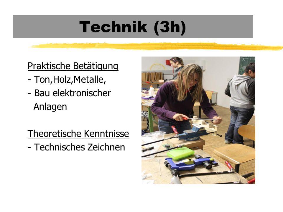 Technik (3h) Praktische Betätigung - Ton,Holz,Metalle, - Bau elektronischer Anlagen Theoretische Kenntnisse - Technisches Zeichnen
